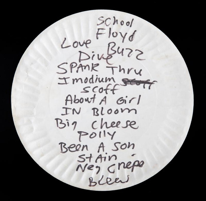 Cobain's Nirvana setlist, handwritten on his paper pizza plate before the 1990 show in Washington, D.C.