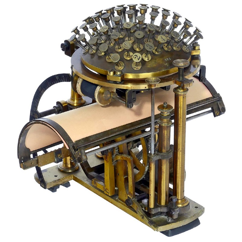 The Hansen Writing Ball, designed in 1867, was the world's first commercially-available typewriter