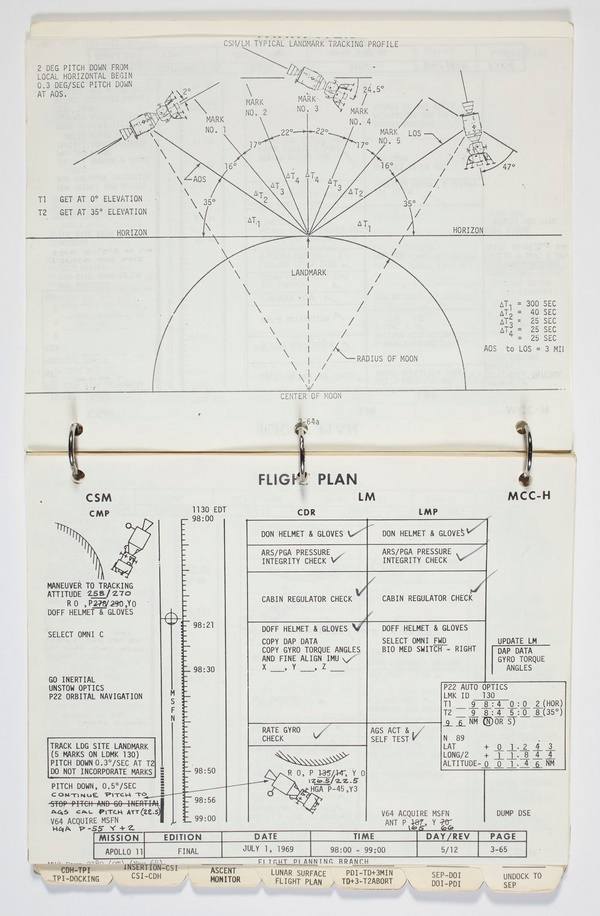 The manual contains every detail of the mission, including detailed checklists and handwritten notes made by Armstrong and Aldrin