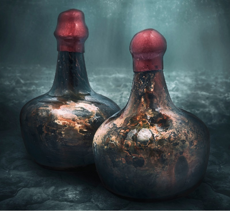 The two bottles of shipwreck wine date from 1670-1690, are are stored in a special underwater container to preserve their original corks
