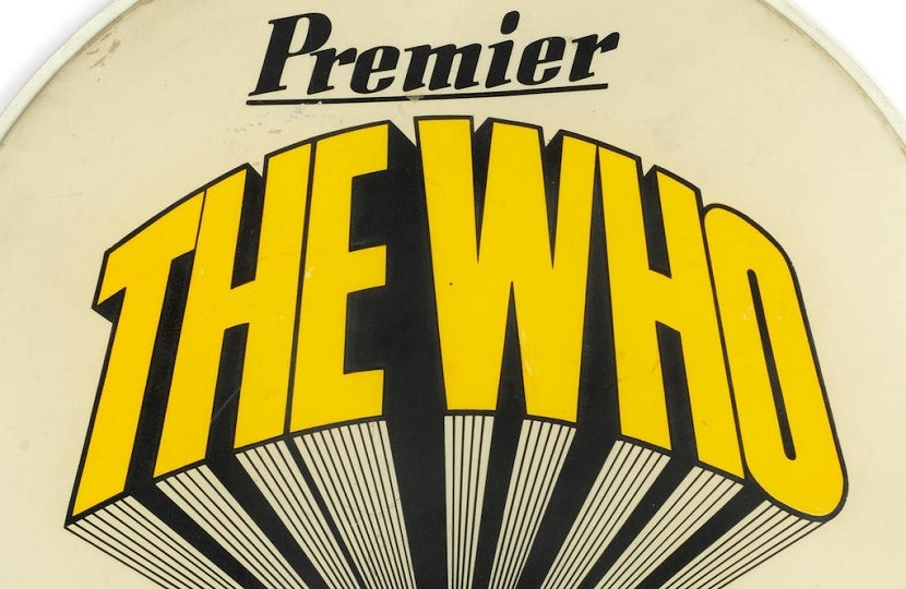 The Who drummer Keith Moon's drum skin is up for auction at Bonhams on June 12
