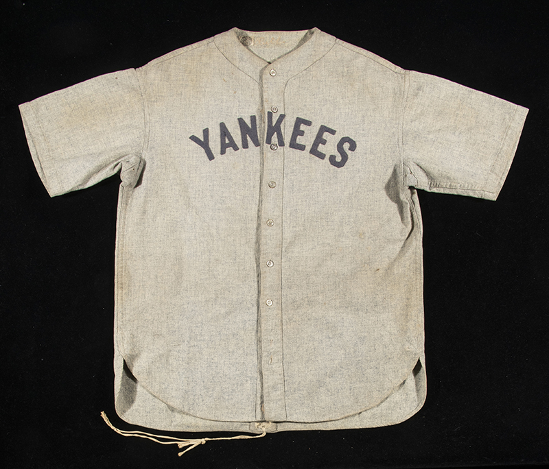 The jersey was worn by Ruth circa 1928-1930, and is one of only six Babe Ruth Yankees jerseys known to exist.