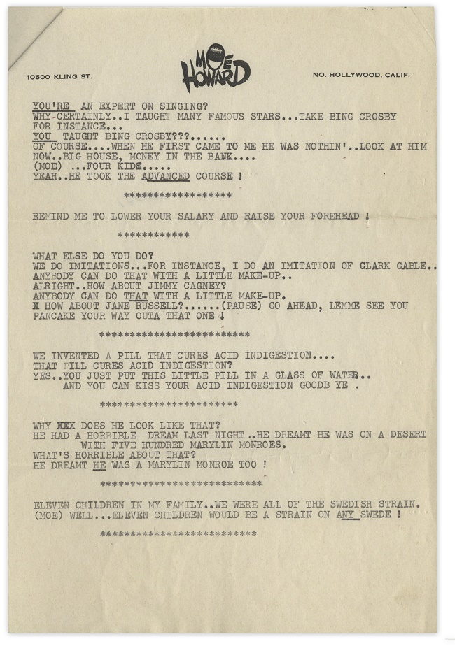 A page of Moe Howard's jokes typed on his personal stationary
