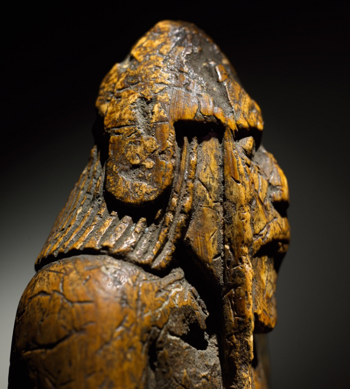 The medieval figure is carved from walrus tusk, and is believed to have been made in Norway circa 1150 - 1200 A.D