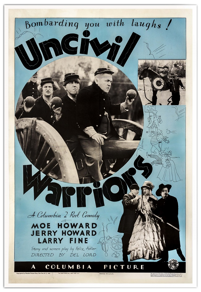 A one-sheet poster for the 1935 short Uncivil Warriors.