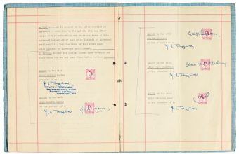 the first management signed by the beatles with brian Epstein up for auction at Sotheby's