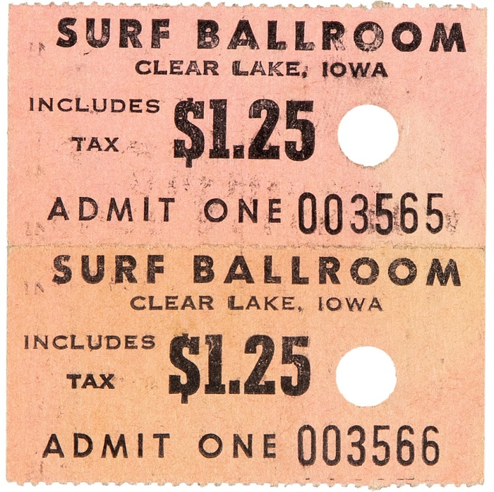 "Used ticket stubs for Buddy Holly's final show at the Surf Ballroom in Clearlake, Iowa on February 2, 1959 - ""The Day The Music Died"""