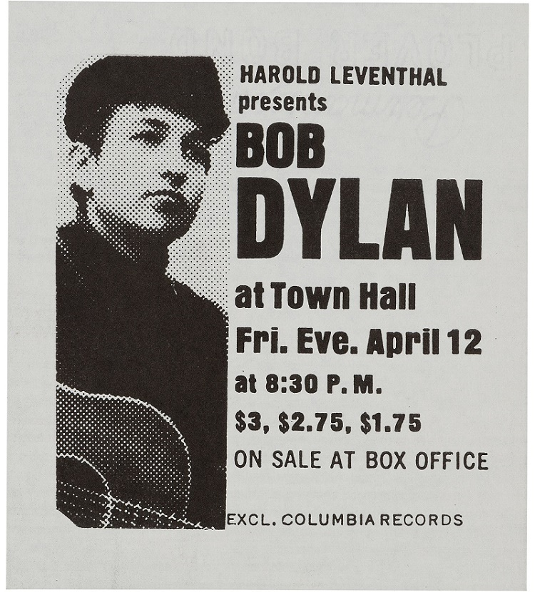An original flyer for the first major concert of Bob Dylan's career, at the Town hall in New York on April 12, 1963.