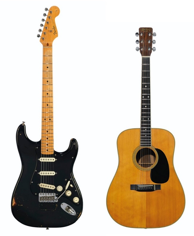 David Gilmour's 1969 Black Fender Stratocaster and 1969 Martin D-35 acoustic guitar, whcih both sold to the renowned billionaire collector Jim Irsay for a combined $5.64 million