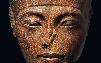 The sculpture of Tutankhamen's head up for action at Christie's