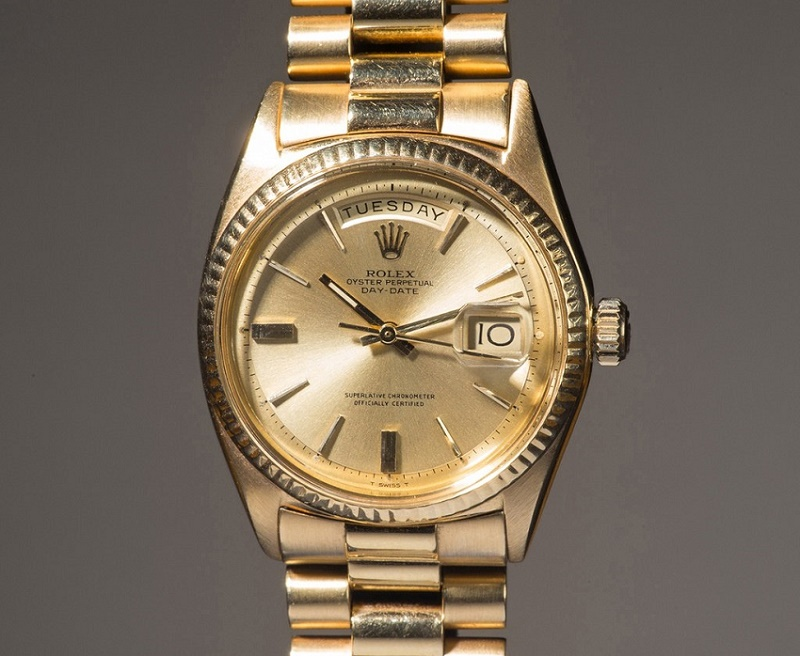 Jack Nicklaus' Rolex Day‐Date Reference 1803 in yellow gold (Image: Phillips)