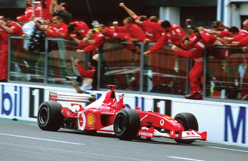 Michael Schumacher drives F2002 chassis 219 to victory at the 2002 French GP, securing his fifth F1 World Drivers Championship.