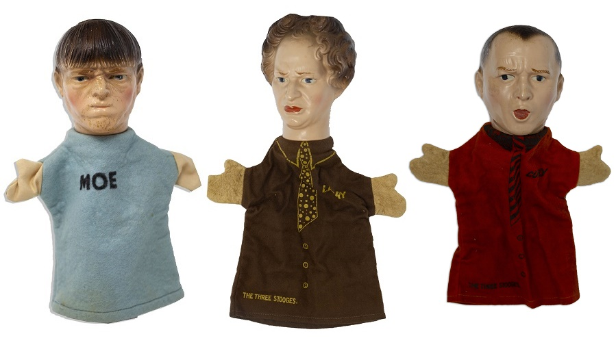 A set of rare Three Stooges handpuppets, circa 1937.