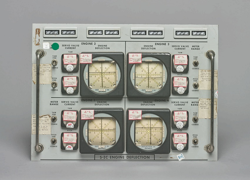 An original panel from Kennedy Space Center Firing Room 1, where the Apollo 11 mission was launched