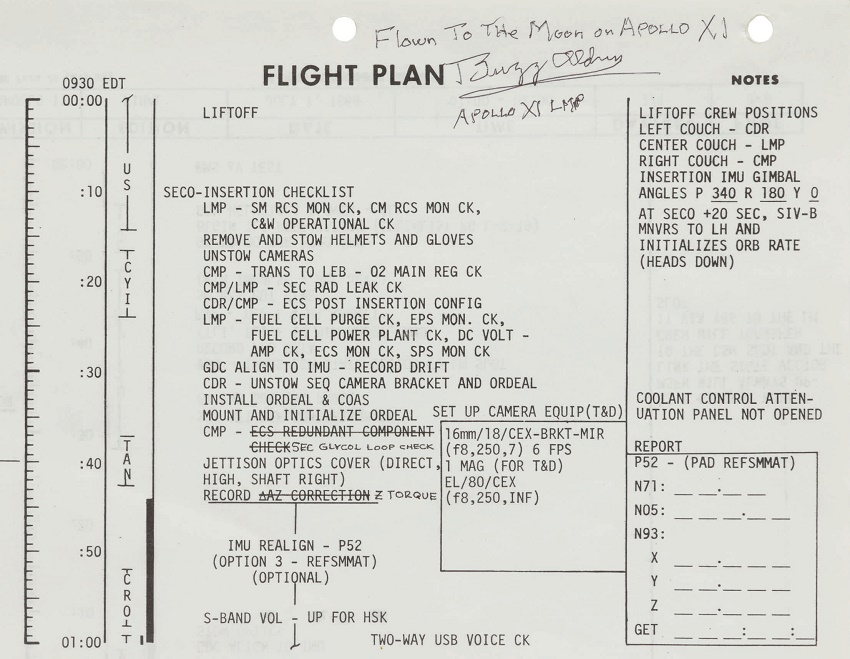 The first page from Buzz Aldrin's space-flown Apollo 11 Data File, which sold for $175,000