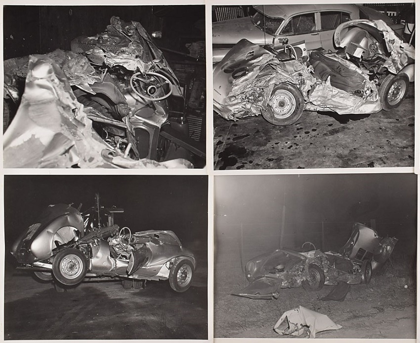 Several of the images show the twisted wreckage of Dean's Porsche 550 Spyder, taken just hours after the fatal collision.