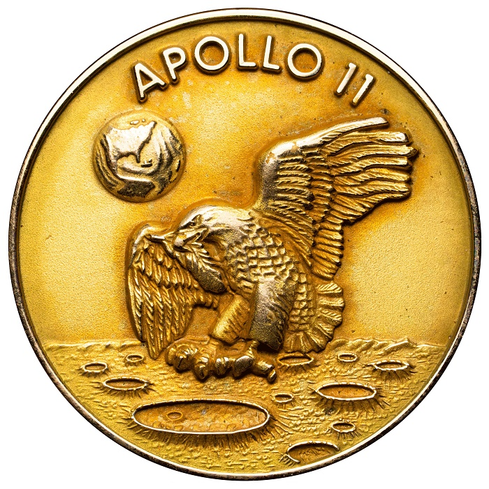 Just three 14k gold Robbins medals were made for the Apollo 11 crew and flown to the lunar surface and back.