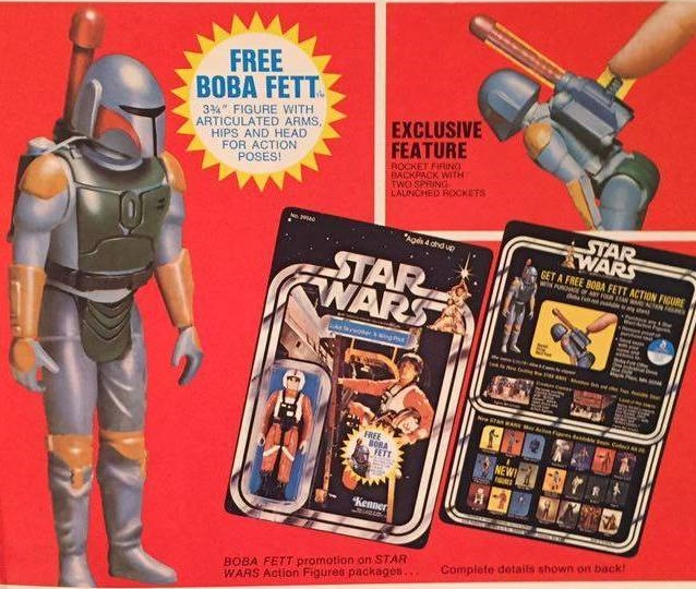 The rocket-firing Boba Fett was originally offered as a free mail-away figure, until Kenner realized it was too dangerous and redesigned it.