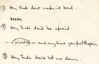 Paul McCartney's handwritten Hey Jude lyrics set to auction this month