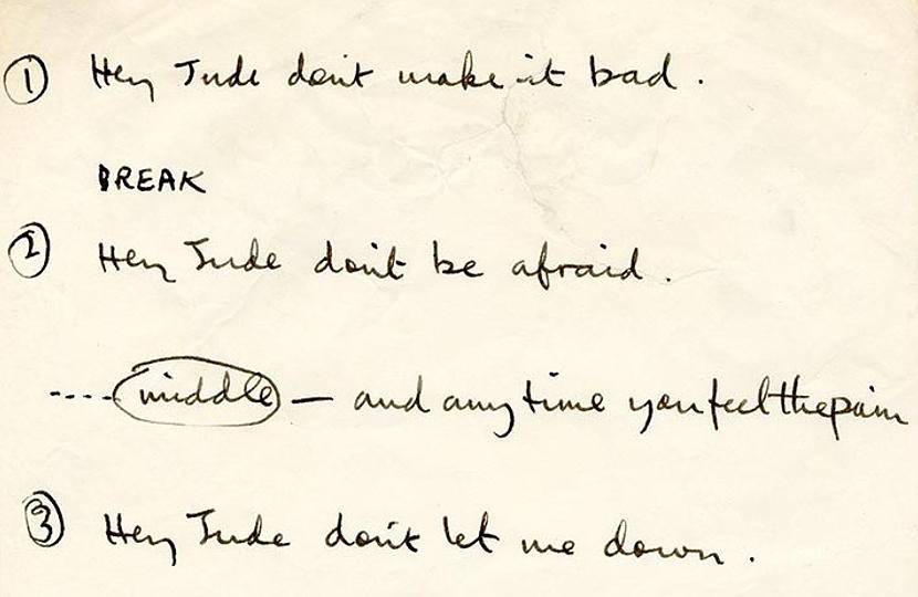 Paul McCartney's handwritten Hey Jude lyrics set to auction this month