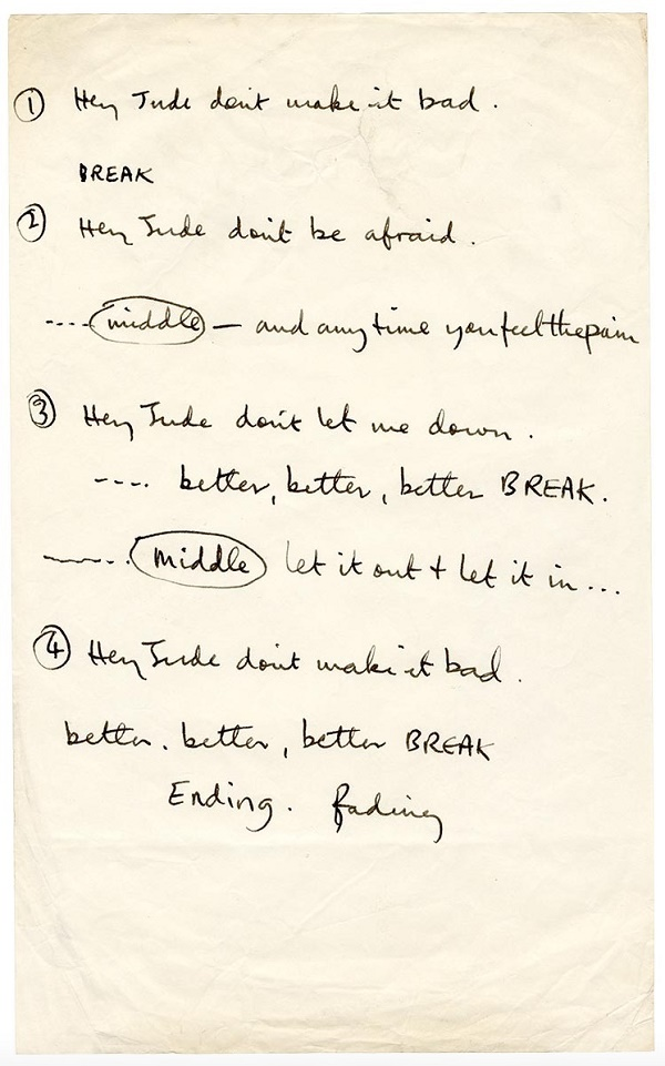 McCartney used this sheet of handwritten lyrics during the rehearsal and recording of the song in July 1968.
