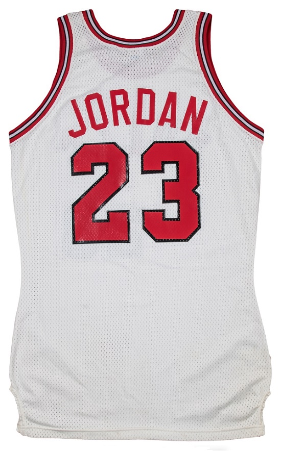 The first Chicago Bulls jersey presented to Micheal Jordan after he signed for the team on September 12, 1984.