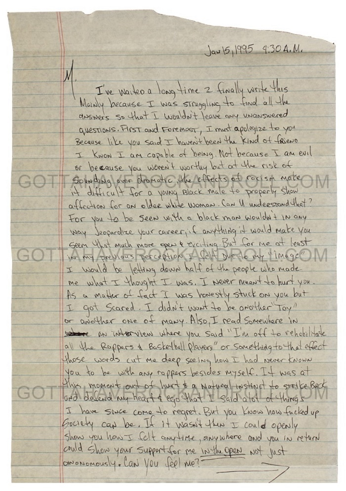 Tupac Shakur wrote the letter to Madonna from his jail cell at Rikers Island, whilst awaiting sentencing for his 1994 conviction for sexual assault.