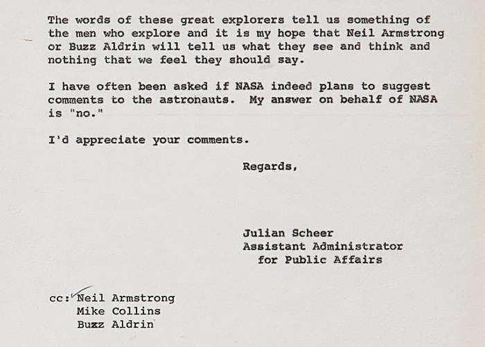 This internal NASA memo, suggesting that Neil Amstrong shoudn't be coached on what to say when he stepped foot on the moon, sold for $30,000.