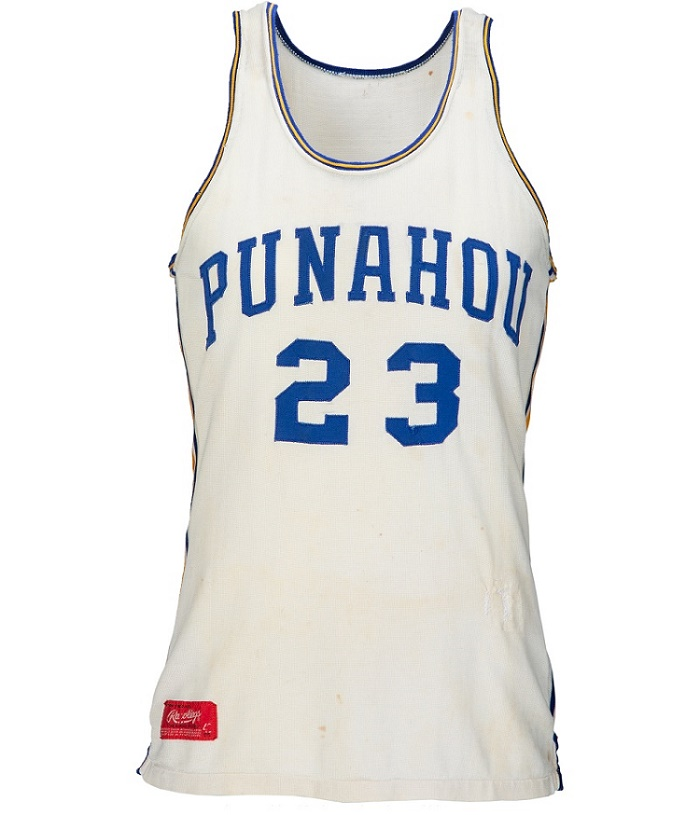 Obama wore the jersey as a member of Punahou High School's 1979 Hawaii State Champion boy's varsity basketball team.