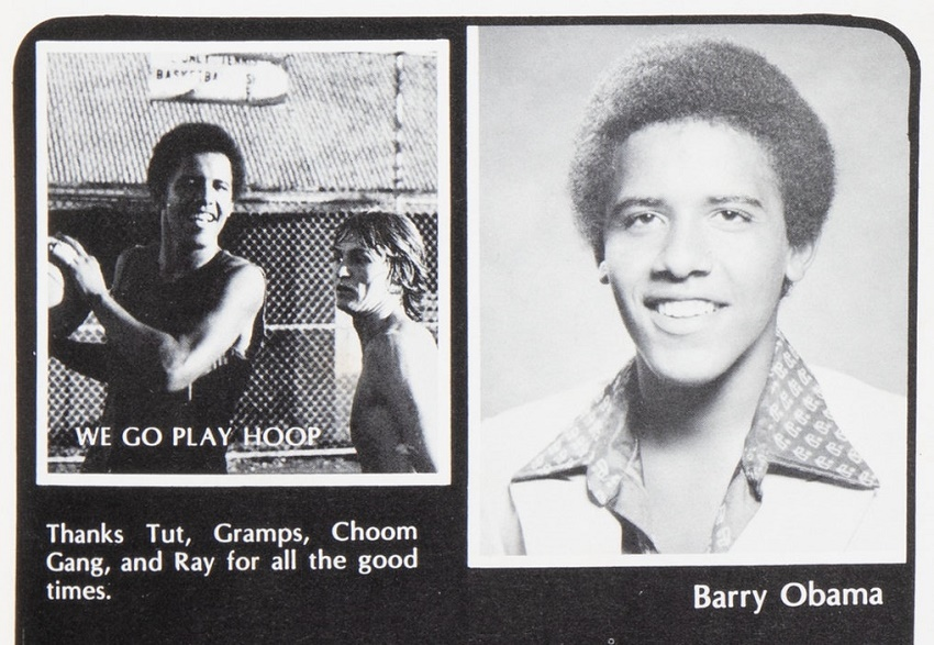 Barack Obama's page in his senior High School yearbook clearly illustrates his love of basketball