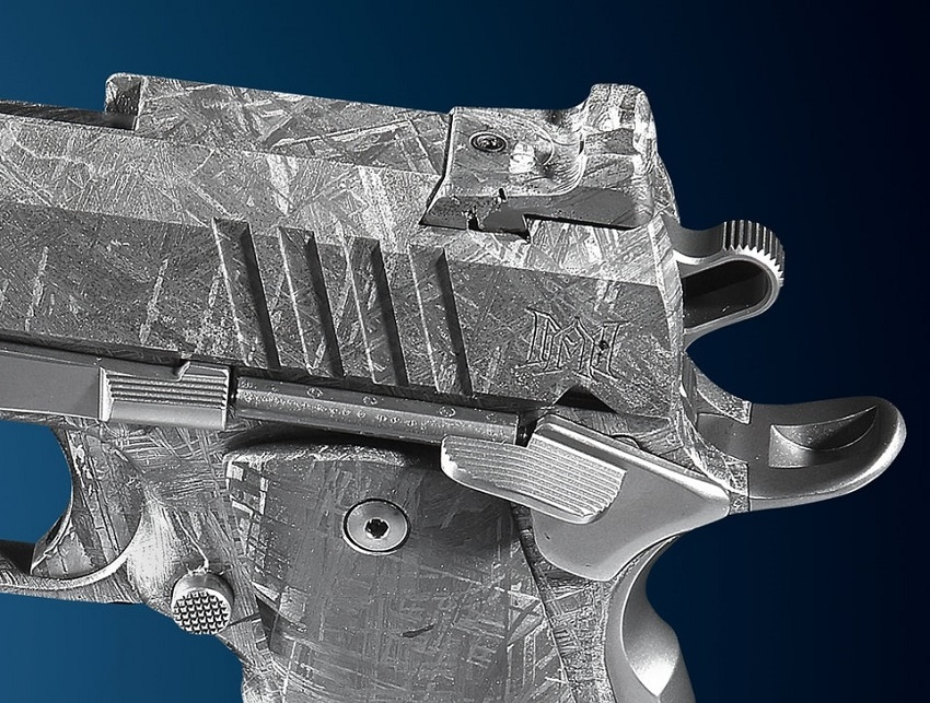 The guns feature characteristic markings known as Widmanstätten patterns, which occur naturally in iron meteorites
