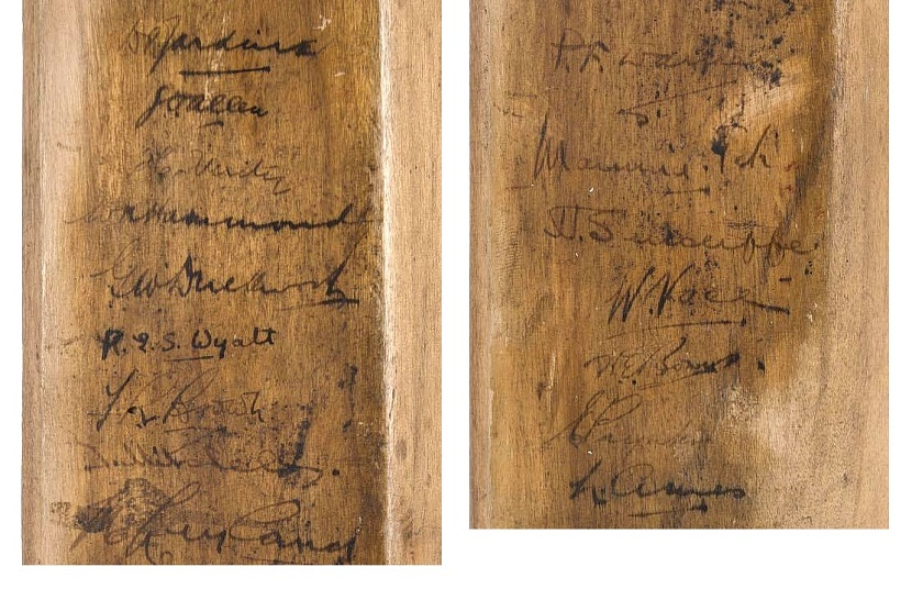The bat is also signed by 16 members of the England team, including captain Doulgas Jardine, who became a hated figure in Australia during the Bodyline series