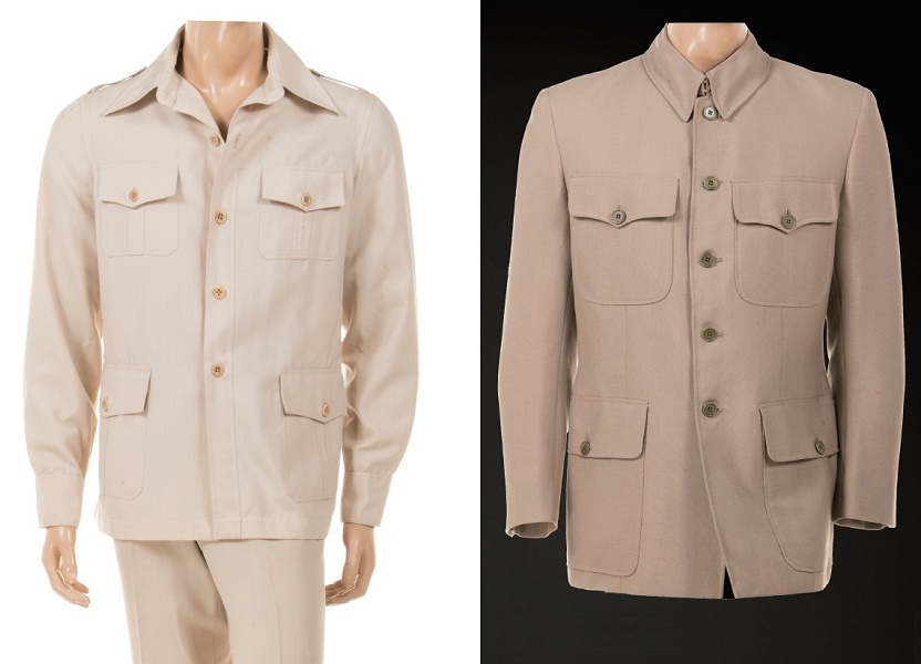 Roger Moore's Octopussy safari suit, estimated at $15,000 - $25,000; and a jacket worn by Charkes Gray as Blofeld in Diamonds Are Forever, estimated at $40,000 - $60,000 (Images: Profiles in History)