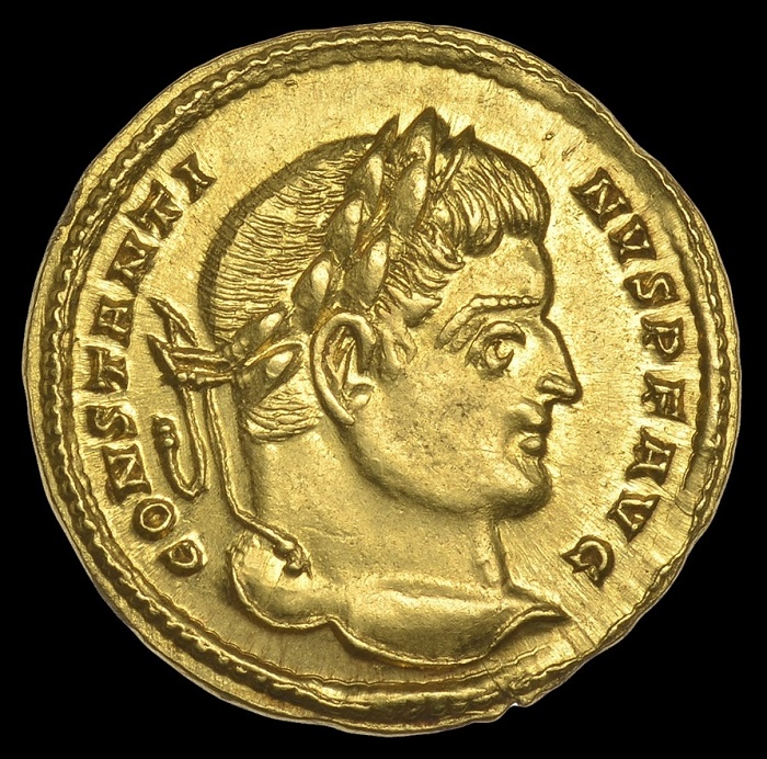 The Constantine I Solidus, circa 313-315, is the first of its kind ever discovered in Britain.