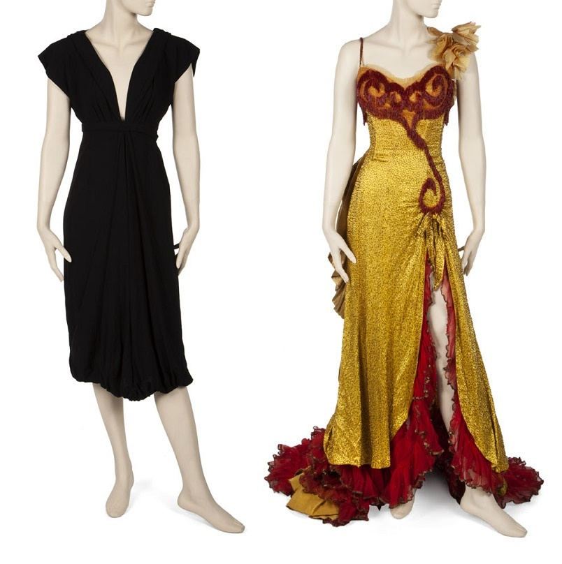 A cockatil dress worn during a press conference for Some Like It Hot (left); and a period costume worn in the final musical number of The River of No Return (right)
