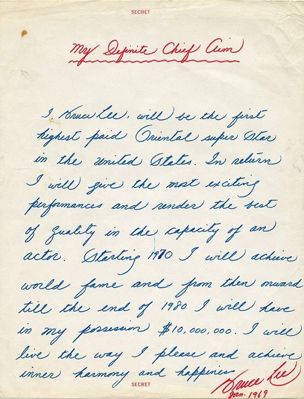 Bruce Lee's personal manifesto, written in January 1969