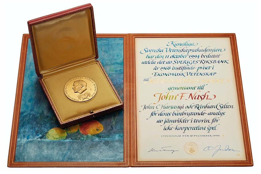 The 1994 Nobel Prize for Economics medal and certificate awarded to John Nash, estimated at $500,000 - $800,000