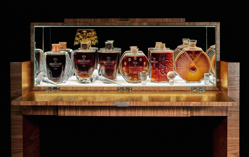 A complete set of The Macallan 50 Year, Lalique Edition Six Pillars Collection, housed in  a custom-made cabinet and valued at £300,000 - £450,000