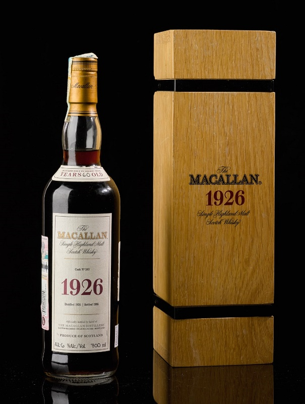 The Macallan 1926 60 Year Old, dubbed the 'Holy Grail of Whisky', estimated at £350,000 - £500,000.