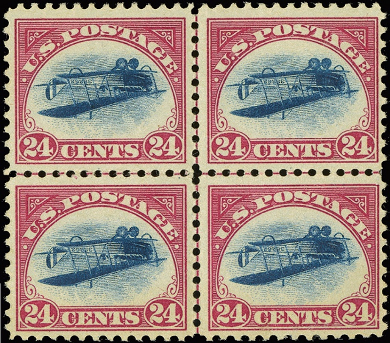 The unique centreline block of four Inverted Jenny stamps, estimated at $2-$3 million