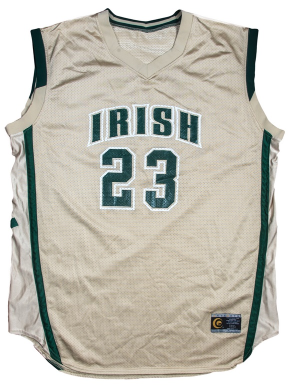LeBron James' high school basketball jersey, worn during his junior year in 2003 with the St. Vincent–St. Mary 'Fighting Irish' (Image: Goldin Auctions)