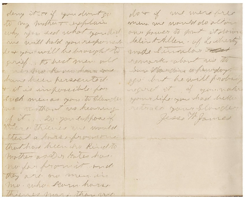 Jesse James' handwritten letter, denying accusations of being a horse thief