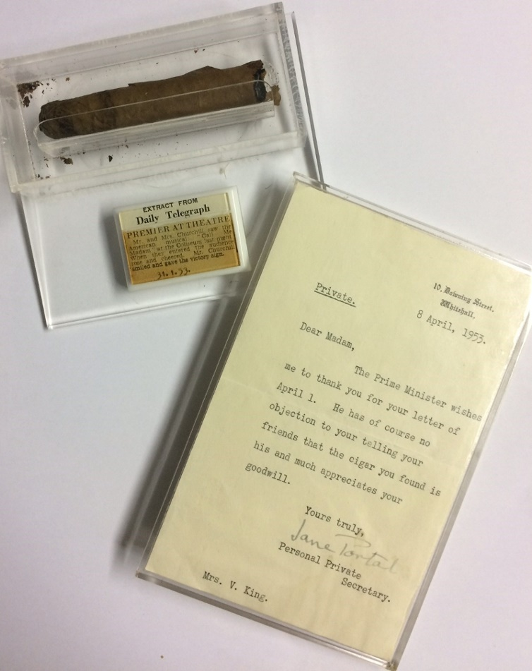 Violet King had the cigar and the letter encased in plastic to preserve them, more than half a century before it became standard practice throughout the collecting hobby (Image: Hanson's)