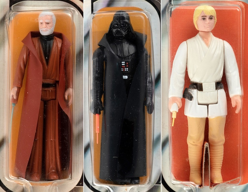 These three early figures all include rare 'double telescoping' lightsabres, which were replaced on later figures as they cost too much to produce. (Image: Hake's Auctions)