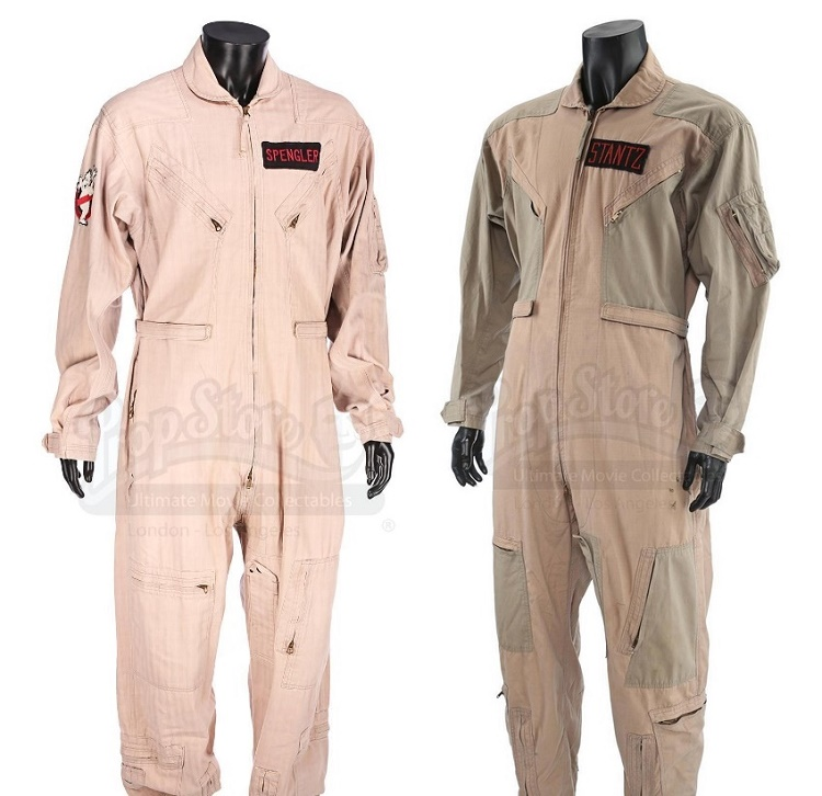 The jumpsuits worn by Harold Ramis in Ghostbusters II and Dan Aykroyd in Ghostbusters, which sold for £27,675 and £30,750 respectvely (Images: Prop Store)