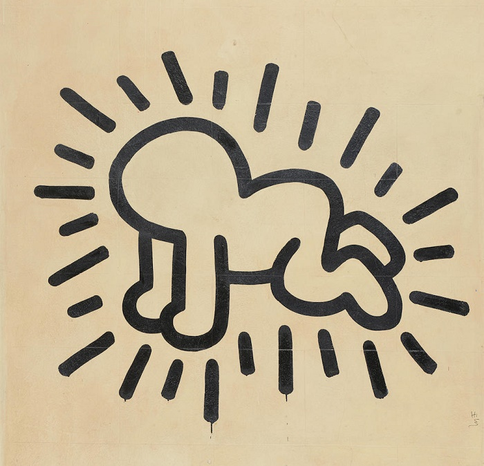 Haring began the mural with the 'radiant baby', one of his most iconic figures that appears throughout his work (Image: Bonhams)