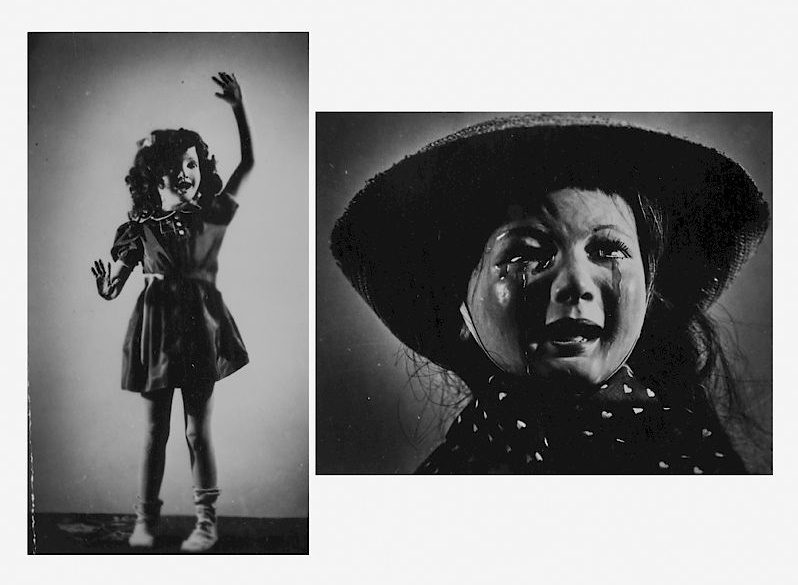 Two of Morton Bartlett's photographs, created using his own child sculptures (Image: Rago