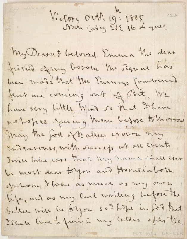 Lord Nelson's last unfinished letter to Lady Hamilton, discovered in his cabin aboard the H.M.S. Victory after his death at the Battle of Trafalgar.