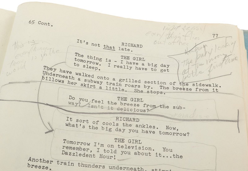 Monroe's handwritten notes for the film's famous 'Subway' scene (Image: Profiles in History)