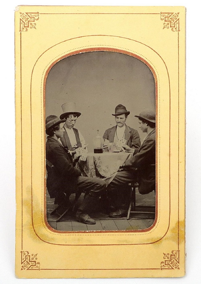 The tintype photograph is said to depict Billy the Kid (second left), along with his associates Richard Brewer, Fred Waite and Henry Brown (Image: Sofe Design Auctions)